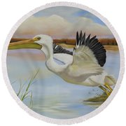 White Pelican In The Louisiana Marsh Round Beach Towel by Phyllis Beiser