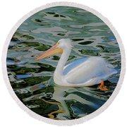White Pelican Round Beach Towel