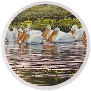 White Pelican Parade Round Beach Towel