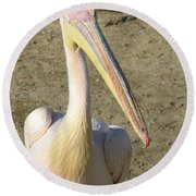 Round Beach Towel featuring the photograph White Pelican by Sally Weigand