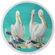 White Pelicans Round Beach Towel by Jimmie Bartlett