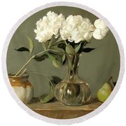 White Peonies In Decanter With Pears And Handmade Pottery Round Beach Towel