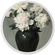 White Peonies In Green Chinese Vase Round Beach Towel
