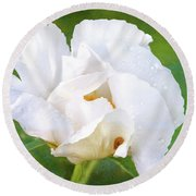 White Peony After The Rain Round Beach Towel