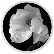 White Peony After The Rain In Black And White Round Beach Towel by Gill Billington
