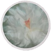 Round Beach Towel featuring the photograph White Peony by Benanne Stiens