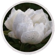 White Peony Covered In Raindrops Round Beach Towel by Gill Billington