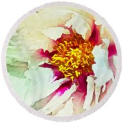 Round Beach Towel featuring the painting White Peony by Joan Reese
