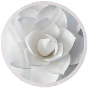 White Petals Round Beach Towel
