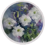 White Petunias Round Beach Towel
