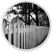 White Picket Fence- By Linda Woods Round Beach Towel