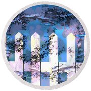 White Picket Fence Round Beach Towel