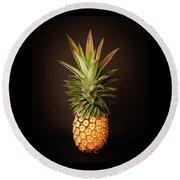 White Pineapple King Round Beach Towel by Denise Bird