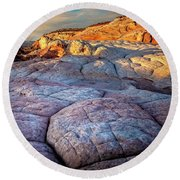 White Pocket Rocks Round Beach Towel