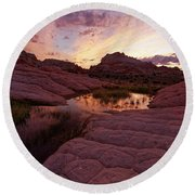 White Pocket Sunset Round Beach Towel by Jonathan Davison
