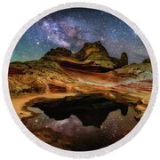 White Pockets Milky Way Round Beach Towel