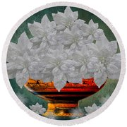 White Poinsettias In A Bowl Round Beach Towel by Saundra Myles