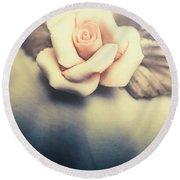 White Porcelain Rose Round Beach Towel