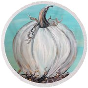 White Pumpkin Round Beach Towel