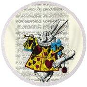 White Rabbit Blows His Trumpet Three Times Alice In Wondreland Round Beach Towel