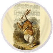 White Rabbit, I Am Late, I Am Late, For A Very Important Date Round Beach Towel