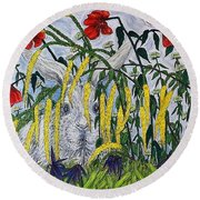 White Rabbit Round Beach Towel