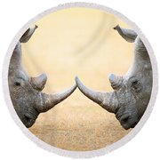 White Rhinoceros  Head To Head Round Beach Towel by Johan Swanepoel