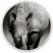 White Rhinoceros  In Due-tone Round Beach Towel