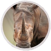 White Rhinoceros Portrait Round Beach Towel