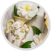 White Rhododendron Funeral Flowers Round Beach Towel