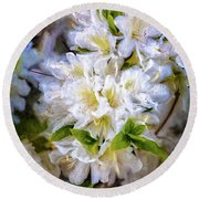 White Rhododendron Round Beach Towel