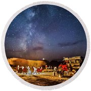 White Rim Camp Round Beach Towel