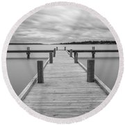 White Rock Lake Pier Black And White Round Beach Towel