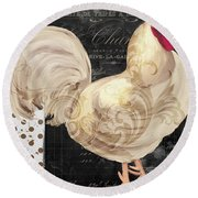 White Rooster Cafe I Round Beach Towel