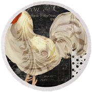 White Rooster Cafe II Round Beach Towel