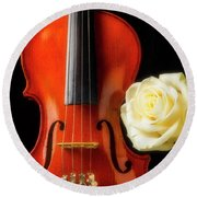 White Rose And Violin Round Beach Towel