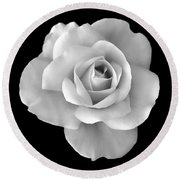 White Rose Flower In Black And White Round Beach Towel