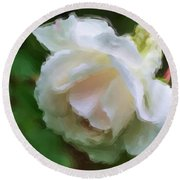 Round Beach Towel featuring the painting White Rose In Paint by Smilin Eyes  Treasures