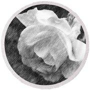 White Rose In Pencil Round Beach Towel
