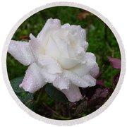 White Rose In Rain Round Beach Towel