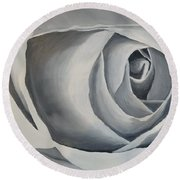 Round Beach Towel featuring the painting White Rose by Kevin Daly