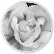 Round Beach Towel featuring the photograph White Rose Macro Black And White by Jennie Marie Schell