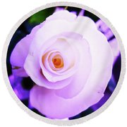 White Rose Round Beach Towel by Mary Ellen Frazee