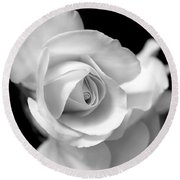 White Rose Petals Black And White Round Beach Towel