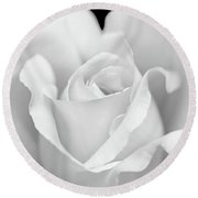 Round Beach Towel featuring the photograph White Rose Purity by Jennie Marie Schell
