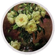 White Roses - A Gift From The Heart Round Beach Towel