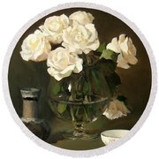 White Roses In A Brandy Snifter Round Beach Towel