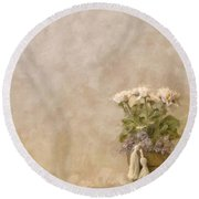White Roses In Old Clay Pot Round Beach Towel