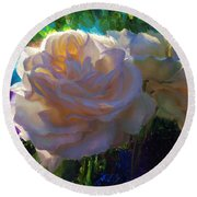 White Roses In The Garden - Backlit Flowers - Summer Rose Round Beach Towel