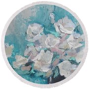 White Roses Palette Knife Acrylic Painting Round Beach Towel